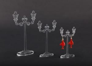 Porta orecchini in plexiglass trasparente modello lampione