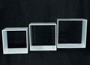 Set 3 cubi in plex bianco spessore 8 mm