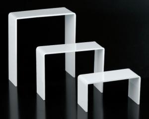 Set of 3 white plexiglass risers