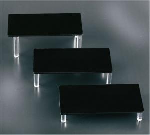 Set of 3 black plexiglass display risers