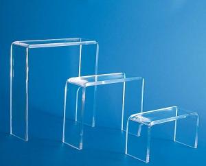 Set of three clear plexiglass display tables - thickness 5mm