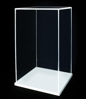 Teca in plex trasparente con base bianca