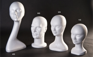 Rought polystyrene wig/hat display head